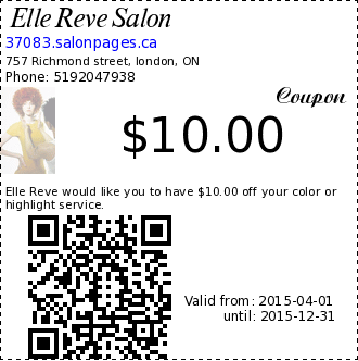 Elle Reve Salon $10.00 Coupon. Elle Reve would like you to have $10.00 off your color or highlight service.